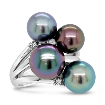 Mastoloni South Sea Black Pearl Cluster Ring
