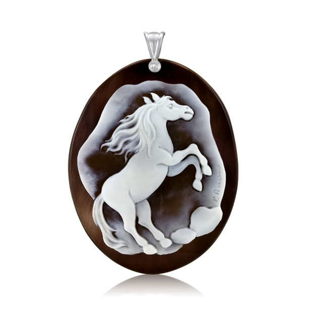 Antonino DeSimone Horse Cameo on Horn With Sterling Silver Bail