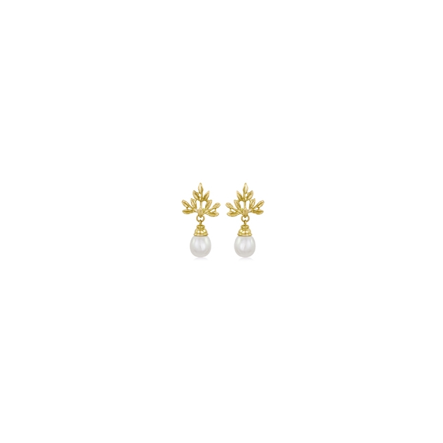 Henry Elfering Leaf Earrings With Pearl Drops in 18K Yellow Gold